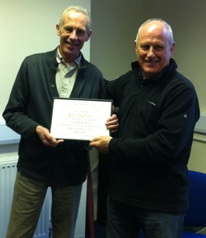 Niel Duffiled receives a life membership award